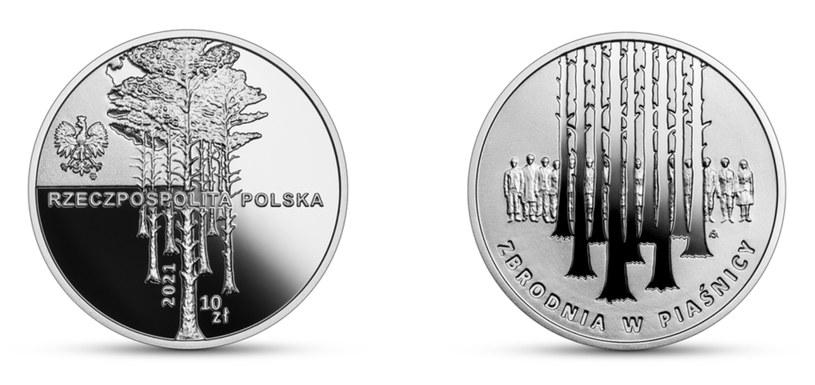 Moneta okolicznościowa NBP: Zbrodnia w Piaśnicy, 10 zł, awers (L) i rewers (P) /NBP