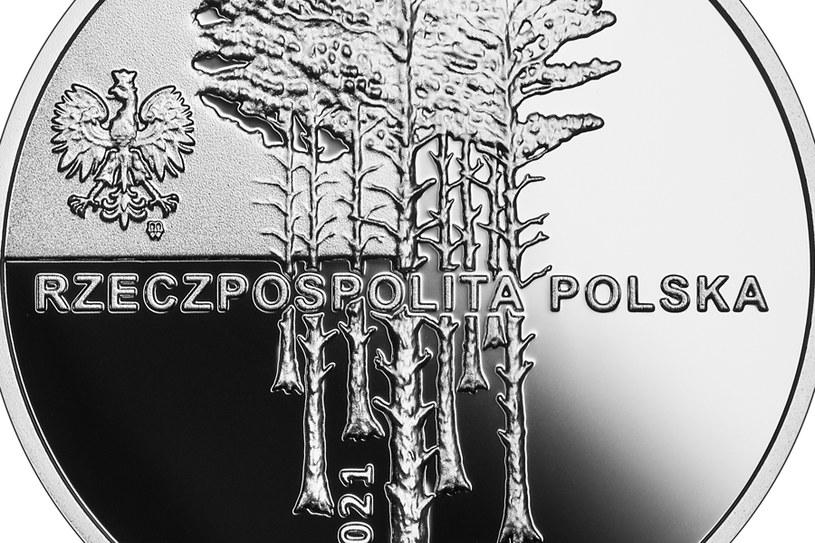 Moneta okolicznościowa NBP: Zbrodnia w Piaśnicy, 10 zł, detal awersu /NBP