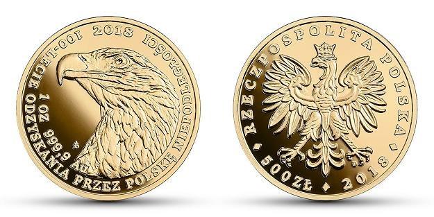 Moneta uncjowa Orzeł Bielik - 500 zł, rewers (L) i awers (P) /NBP