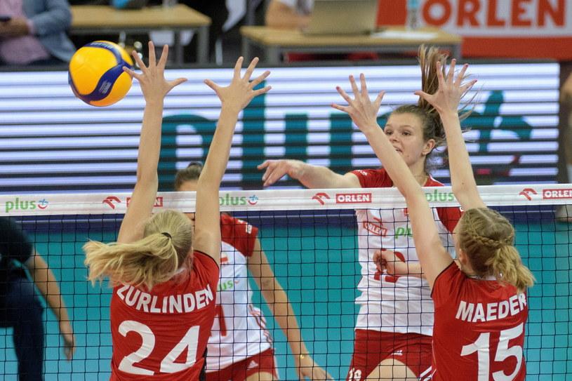 Monika Fedusio w meczu ze Szwajcarią /Grzegorz Michałowski /PAP