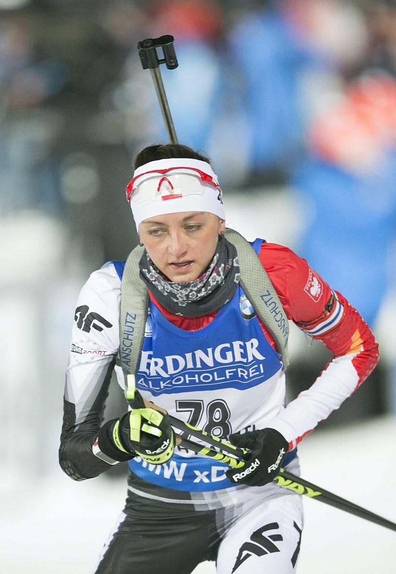 Monika Hojnisz podczas MŚ w Kontiolahti. /PAP/EPA