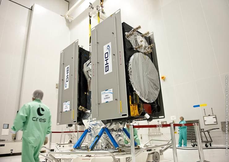 Montaż satelitów Galileo FOC-1 i 2 na wyrzutniku (Fot. ESA) /materiały prasowe