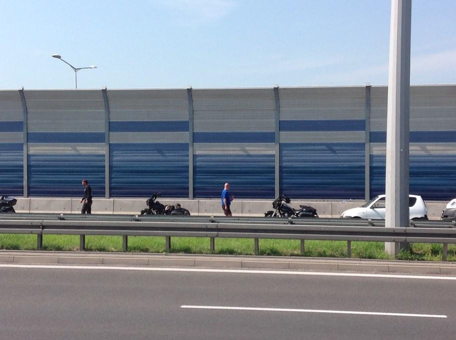 Motocykliści na miejscu wypadku /Tomasz Skory  /RMF FM