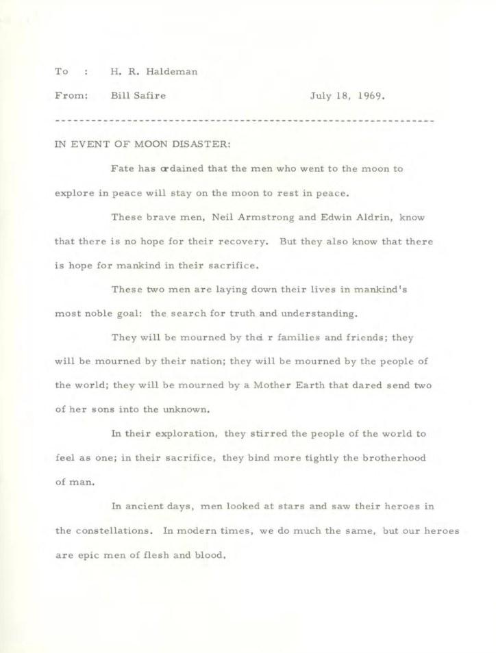 """Mowa Nixona na wypadek """"katastrofy księżycowej"""" /materiały prasowe"""