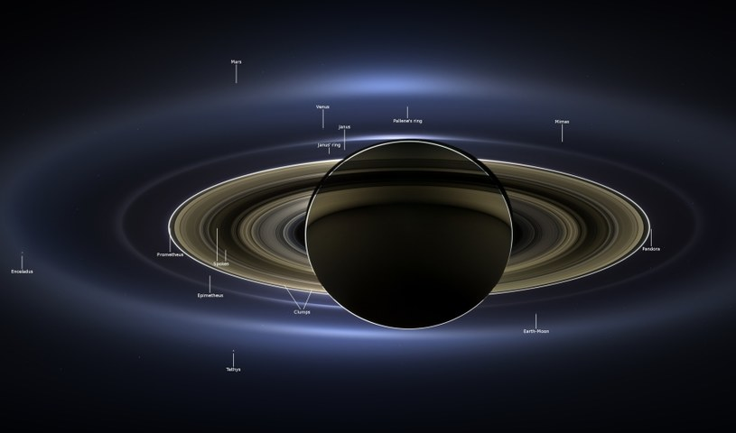 Mozaika zdjęć przedstawiająca Saturna i Ziemię /NASA