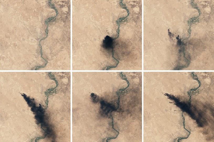 Mozaika zmian wokół Qayyarah od maja do sierpnia 2016 /NASA