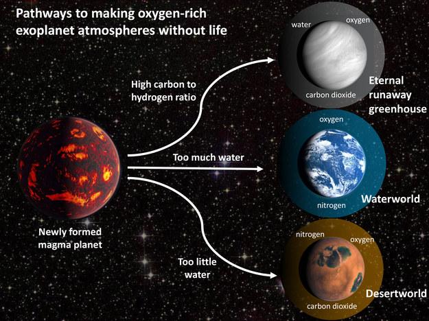 Możliwe scenariusze ewolucji planet, w wyniku której tlen pojawia się bez życia / J. Krissansen-Totton /Materiały prasowe