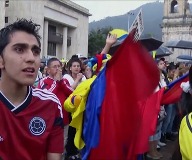 MŚ 2014: Smutek kibiców w Bogocie po meczu z Brazylią. Wideo
