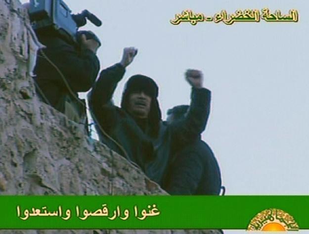 Muammar Kadafi podczas przemówienia /AFP