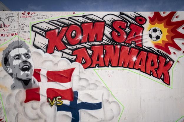 Mural z pozdrowieniem dla Christiana Eriksena w Kopenhadze /Mads Claus Rasmussen /PAP/EPA