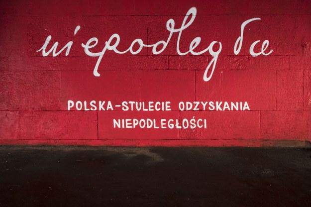 """Mural z symbolem """"Niepodległej"""" /Andrzej Hulimka  /Reporter"""