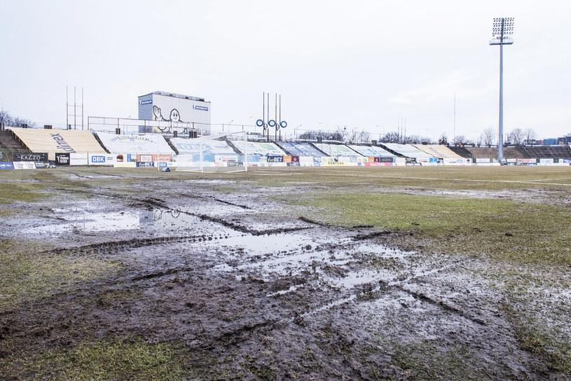 Murawa na stadionie Stomilu Olsztyn /Kacper Kirklewski /Newspix