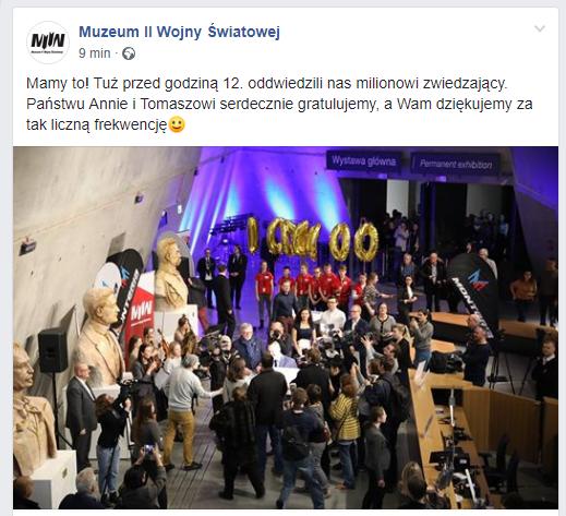 Muzeum odwiedziło już milion osób /Muzeum II Wojny Światowej /facebook.com