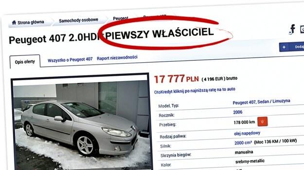 """Na 168 sprawdzonych ogłoszeń tylko w 12 przypadkach hasło """"pierwszy właściciel"""" było zgodne z prawdą. /Motor"""