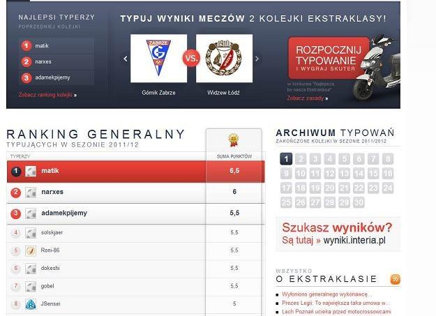 Na czele rankingu generalnego jest matik /INTERIA.PL