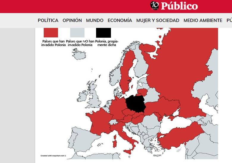 """Na czerwono zaznaczono kraje, które najechały Polskę (fot. mapa """"Publico"""") /"""