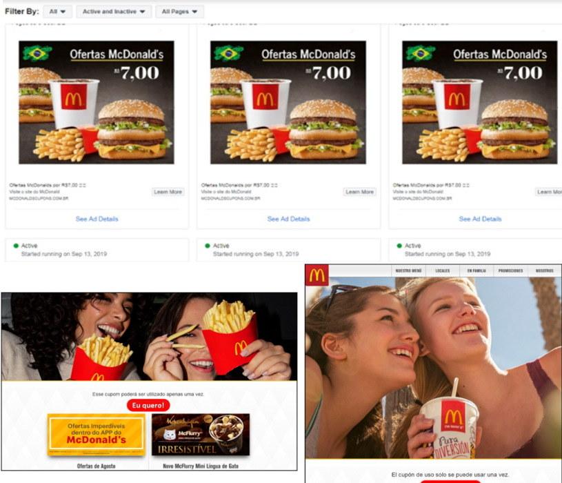 Na górze: Zrzuty z ekranu z kampanii reklamowej na Facebooku, która informowała o kuponach zniżkowych na McZestawy. Na dole: Zrzuty ekranu ze stron, z których można było pobrać rzekome kupony. Zrzut z lewej był wyświetlany użytkownikom z Brazylii, z prawej – Meksyku