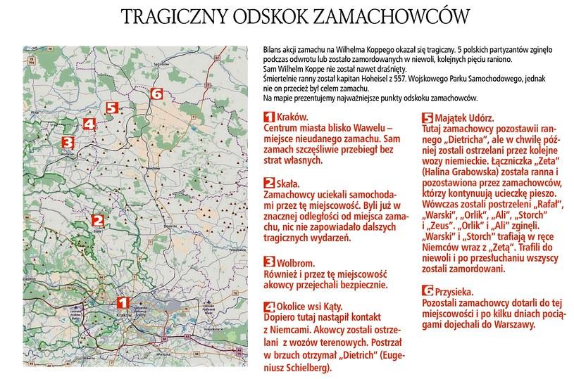 Na mapie najważniejsze punkty odskoku zamachowców /Odkrywca