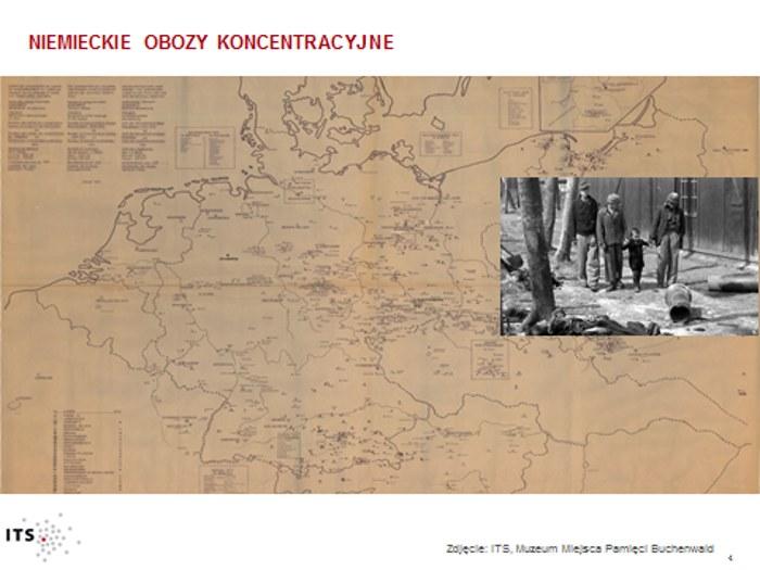 Na mapie zaznaczono niemieckie obozy koncentracyjne. Zdjęcie: ITS/Muzeum Miejsca Pamięci Buchenwald /