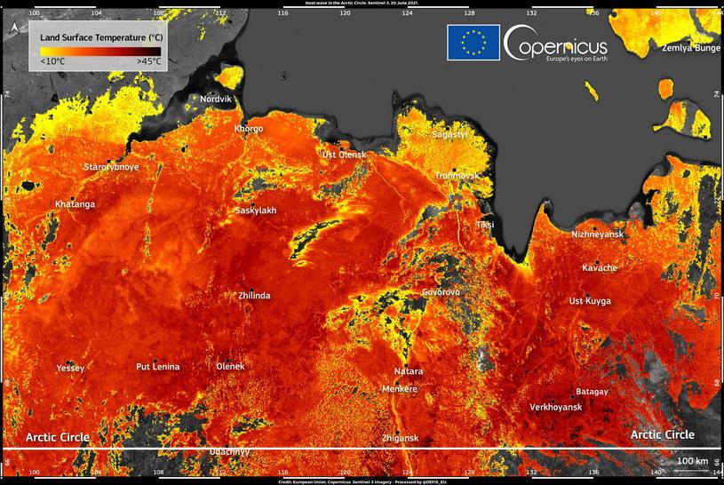 Na Syberii odnotowano ekstremalne temperatury. Fot. Copernicus Sentinel-3 /materiały prasowe