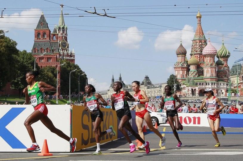 Na trasie maratonu podczas MŚ w Moskwie. /PAP/EPA