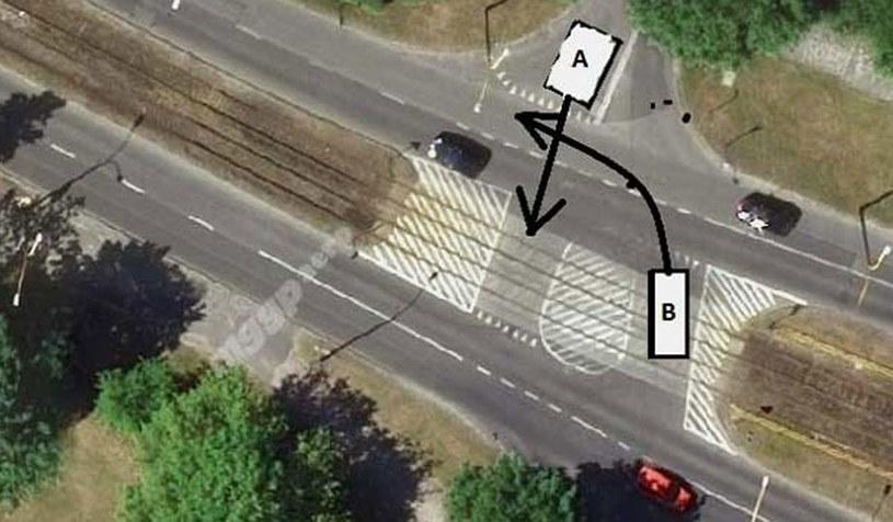 Na tym skrzyżowaniu panuje zasada kto szybszy ten ma pierwszeństwo /