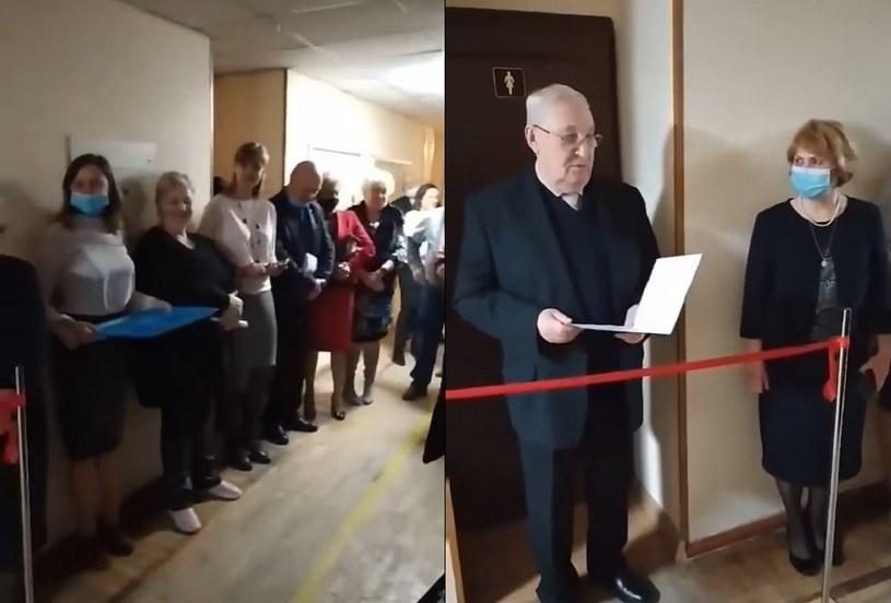 Na uczelni w Kijowie uroczyście otwarto toaletę /facebook.com