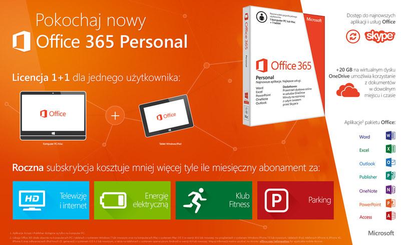 Na usługę Office 365 Personal składają się programy: Word, Excel, PowerPoint, Outlook, OneNote, Publisher oraz Access. /materiały prasowe