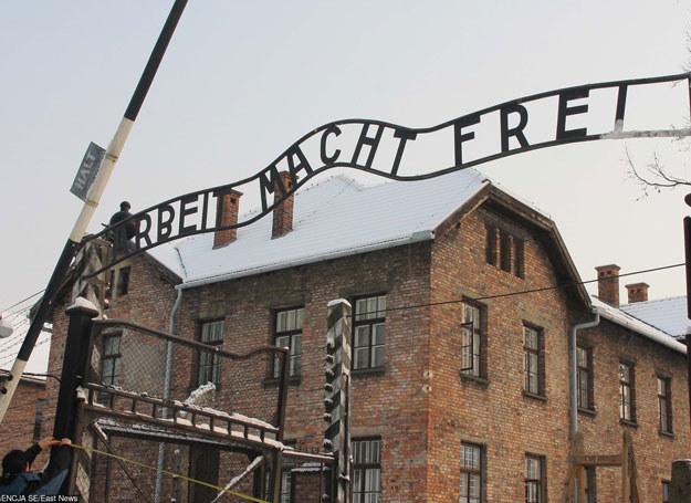 Na wspomnianej fototapecie znalazły się zdjęcia bram obozów /JACEK KOZIOL /East News