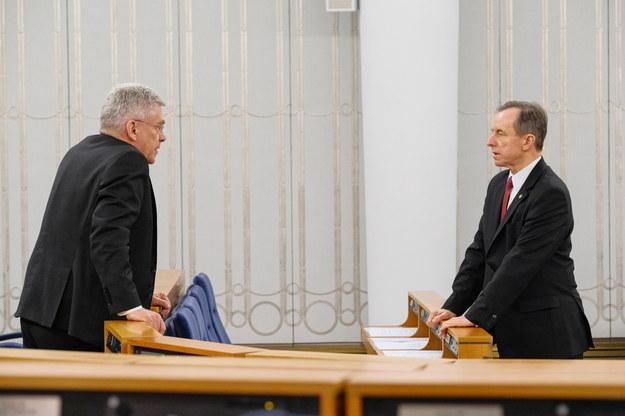 Na zdjęci marszałek Senatu Tomasz Grodzki oraz wicemarszałek Senatu Stanisław Karczewski /Mateusz Marek /PAP