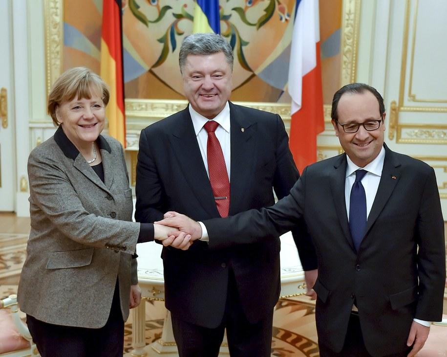 Na zdjęciu Angela Merkel, Petro Poroszenko i Francois Hollande /MYKOLA LAZARENKO /PAP/EPA