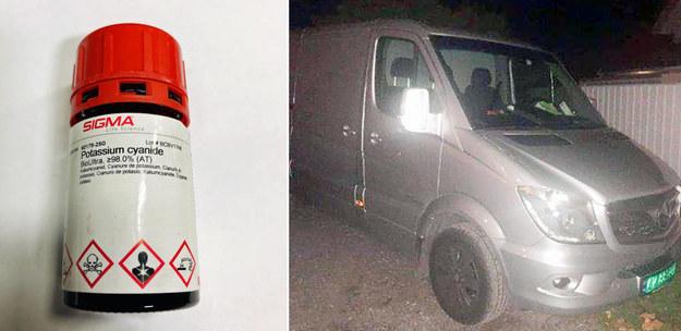 Na zdjęciu jedna ze skradzionych puszek z cyjankiem potasu oraz skradziony pojazd /foto. Politiet /