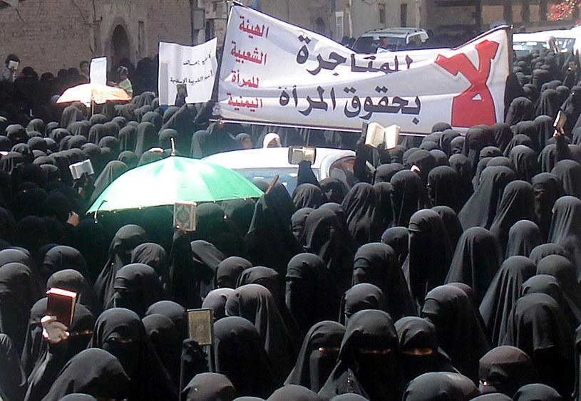 Na zdjęciu jemenki protestujące w obronie praw kobiet /STR /AFP