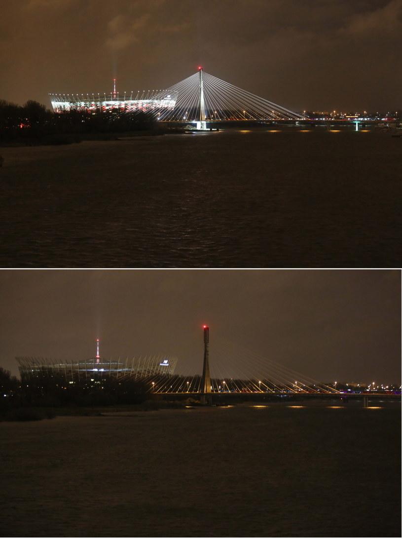 Na zdjęciu kombo rozświetlone i wygaszone Most Świętokrzyski i Stadion Narodowy w Warszawie /Leszek Szymański /PAP