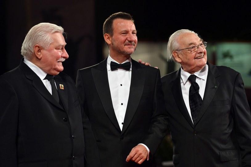 Na zdjęciu Lech Wałęsa, Robert Więckiewicz i Andrzej Wajda /AFP
