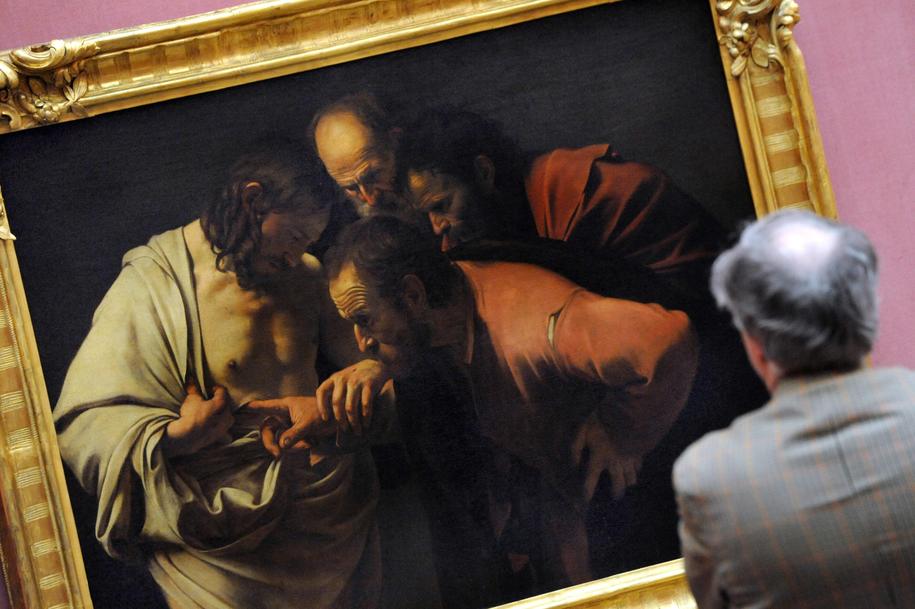 Na zdjęciu obraz pędzla przedstawiający Jezusa oraz apostoła Tomasza / Tobias Kleinschmidt /PAP/EPA