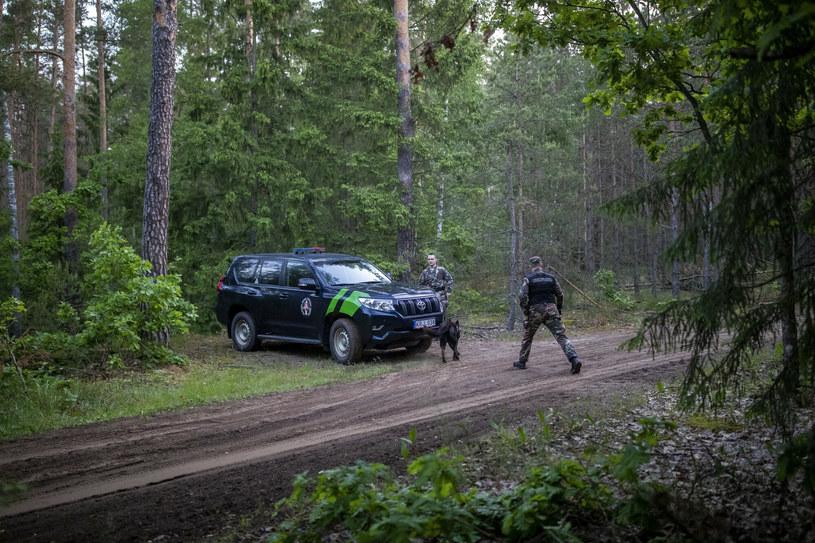 Na zdjęciu patrol litewskiej Straży Granicznej kontroluje białoruską granicę w pobliżu miejscowości Kapciamiestis, około 106 km od stolicy kraju WIlna /AP Photo/Mindaugas Kulbis /East News