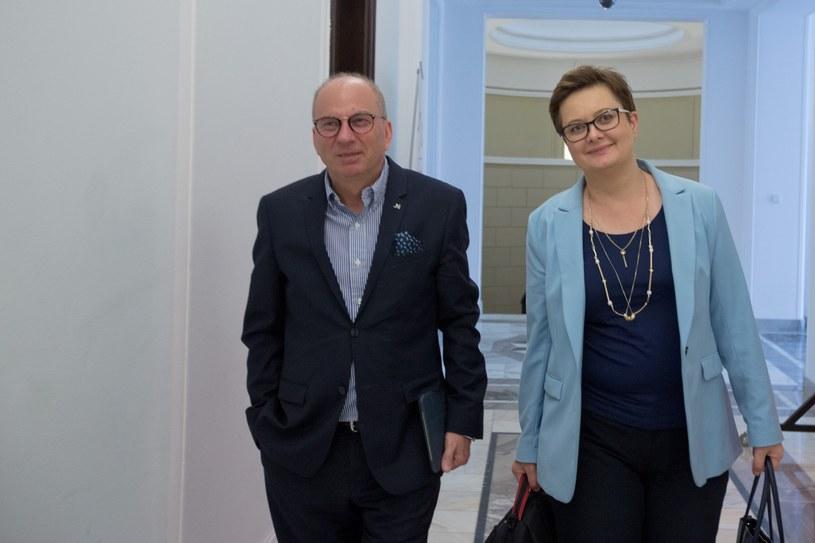 Na zdjęciu poseł Jerzy Meysztowicz i szefowa Nowoczesnej Katarzyna Lubnauer /fot. Andrzej Iwanczuk/REPORTER /Reporter