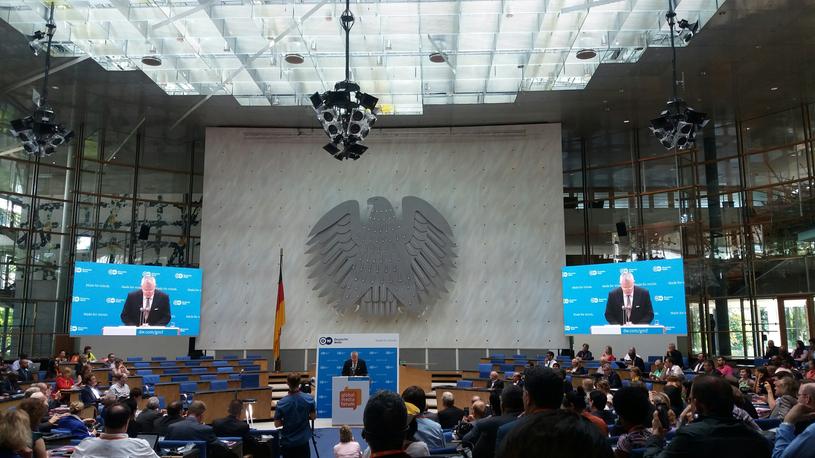 Na zdjęciu prezes Deutsche Welle Peter Limbourg. Deutsche Welle jest gospodarzem 10. Global Media Forum /Ewelina Karpińska-Morek /INTERIA.PL