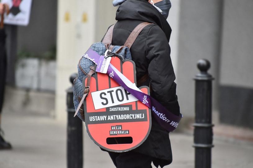 Na zdjęciu strajk kobiet przed Sejmem /Artur Zawadzki /Reporter