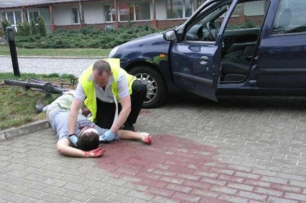 Na zdjęciu symulacja wypadku drogowego /INTERIA.PL