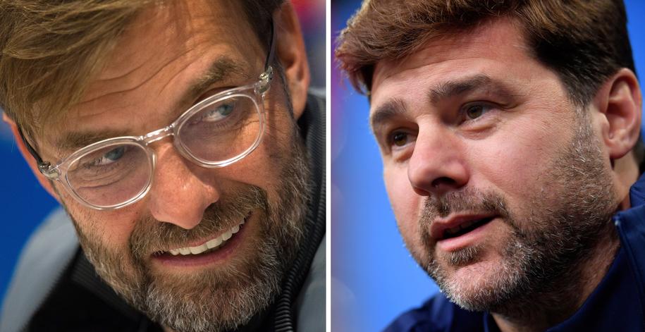 Na zdjęciu trenerzy: Liverpoolu Juergen Klopp oraz Tottenhamu Mauricio Pochettino /PETER POWELL - SASCHA STEINBACH /PAP/EPA
