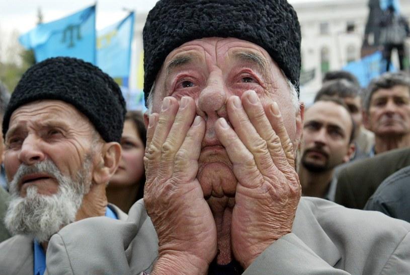 Na zdjęciu z 2004 roku obchody 60. rocznicy deportacji Tatarów Krymskich /SERGEI SUPINSKY /AFP