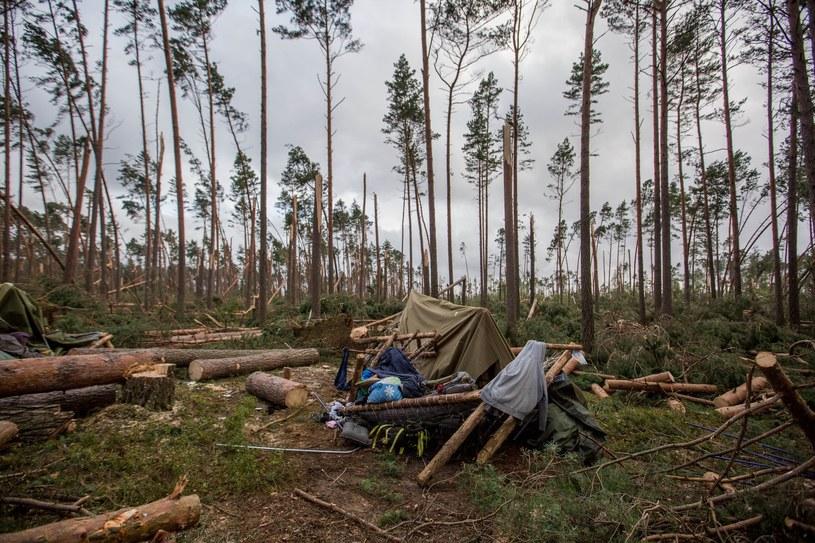 Na zdjęciu zniszczone obozowisko w Suszku /Piotr Hukalo /East News