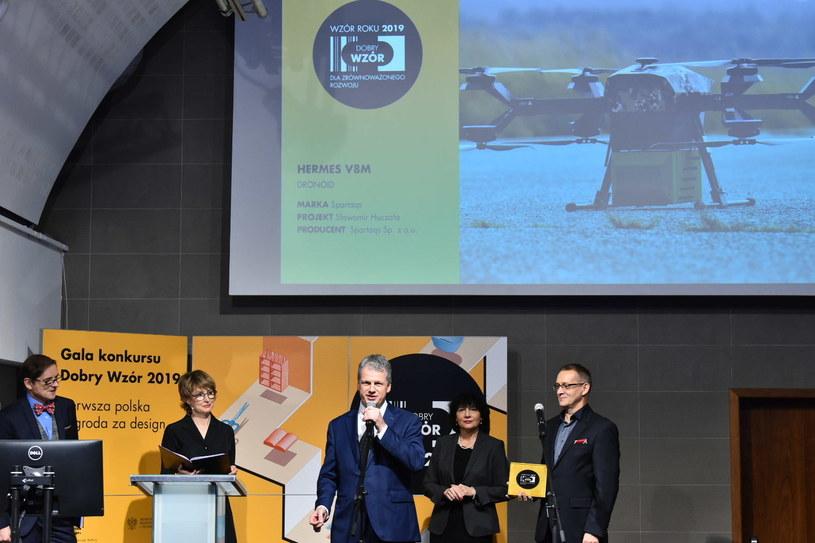 Nagroda specjalna KGHM w konkursie Dobry Wzór 2019 dla dronoidu Hermes V8M firmy Spartaqs, fot. PAP /&nbsp