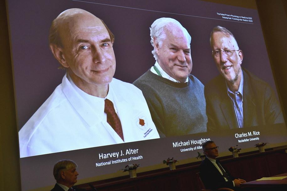 Nagrodę podzielą między siebie Amerykanin Harvey J. Alter, Brytyjczyk Michael Houghton i Amerykanin Charles M. Rice /Claudio Bresciani / POOL /PAP/EPA