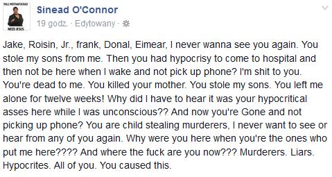 Najnowszy post Sinead O'Connor na Facebooku /Facebook /