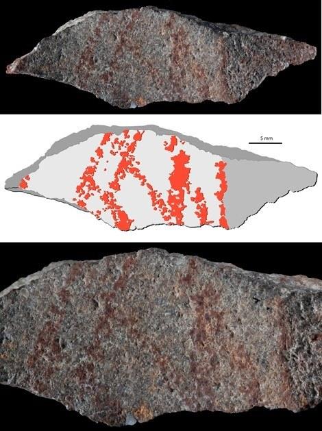 Najstarszy rysunek świata odkryty w grocie w Blombos w RPA /materiały prasowe