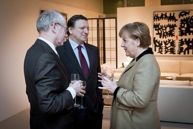 Najważniejsze postaci Europy, od lewej: Herman Van Rompuy, Jose Manuel Barroso i Angela Merkel /AFP