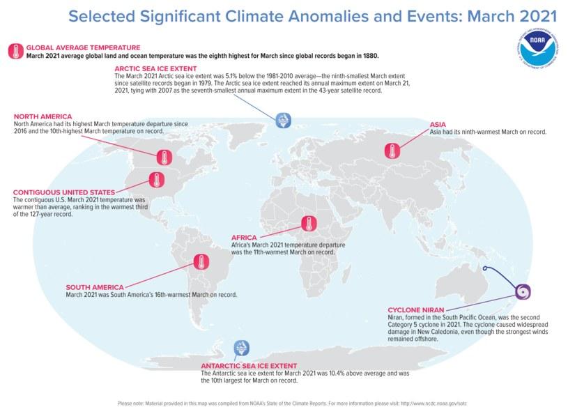 Najważniejsze zdarzenia klimatyczne w marcu wg NOAA. /NOAA-NCEI /materiały prasowe